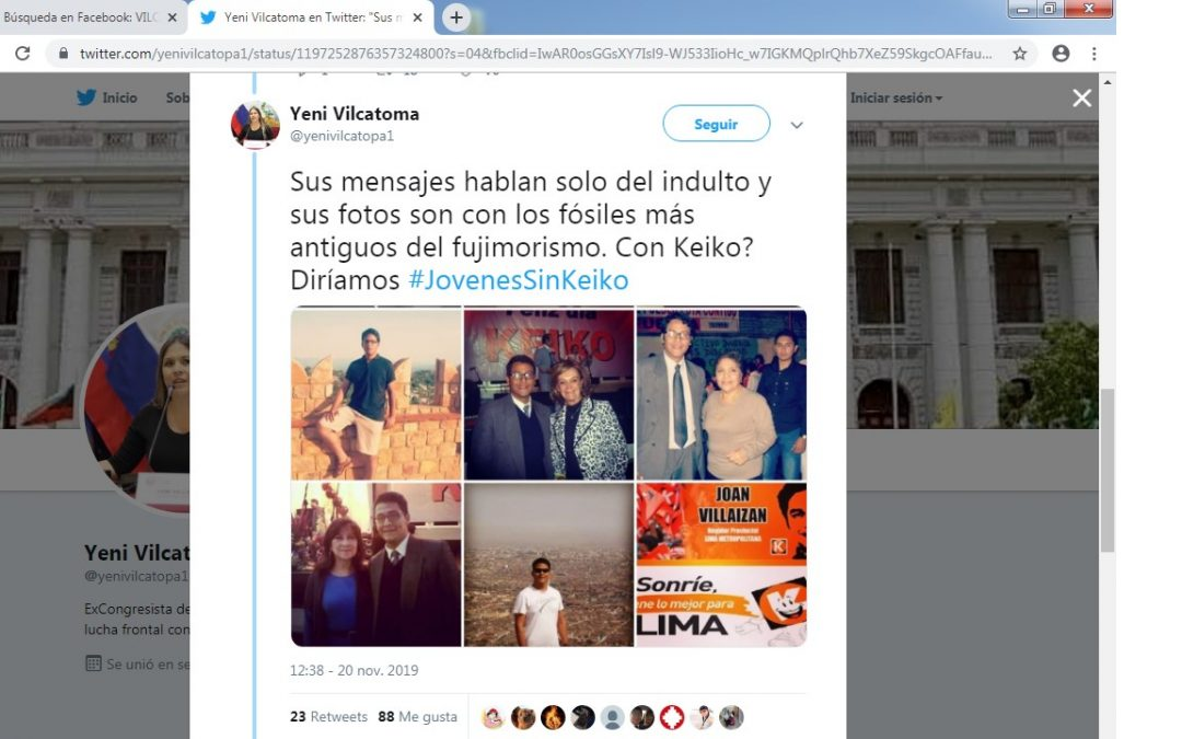 YENI VILCATOMA LLAMA FOSILES A ANTIGUOS FUJIMORISTAS