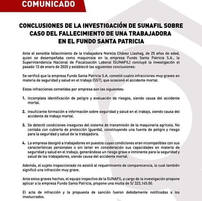 323 MIL SOLES DE MULTA PARA FUNDO SANTA PATRICIA S.A PROPONE SUNAFIL