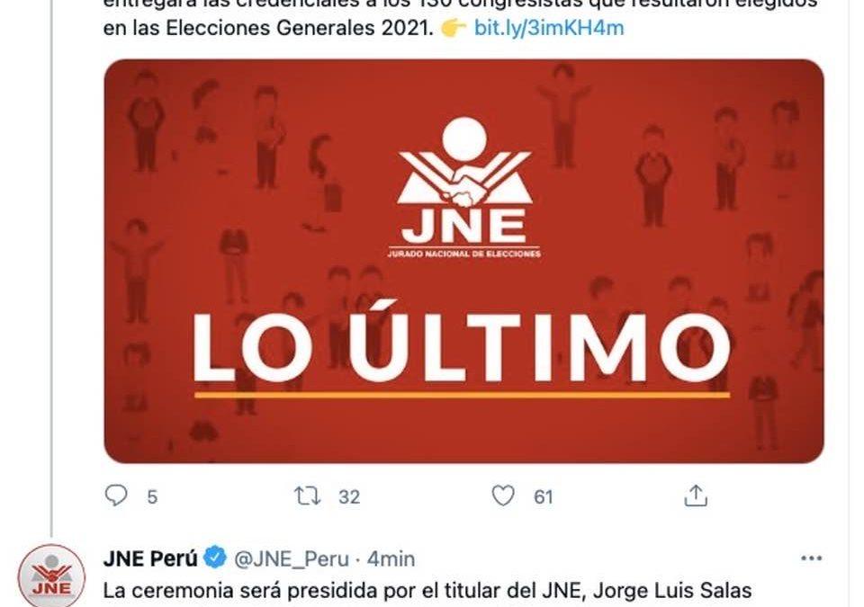 HOY JNE ENTREGARA CREDENCIALES A 13O CONGRESISTAS ELECTOS